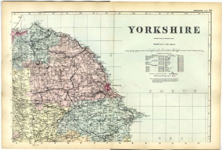 1891 Antique Map YORKSHIRE NORTH EAST COUNTY Driffield BRIDLINGTON Helmsley WHITBY Malton &c